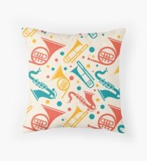French Horns Saxophone and Trombone Band Throw Pillow