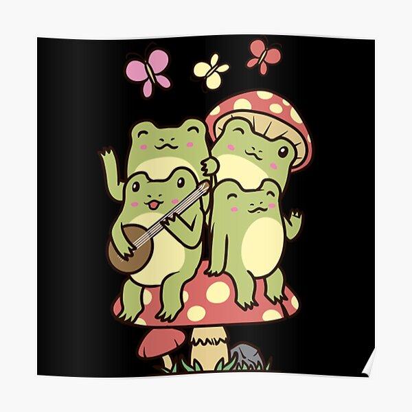 Cottagecore Aesthetic Frog with banjo Mushroom  Poster
