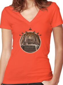 Robot Crest Women's Fitted V-Neck T-Shirt