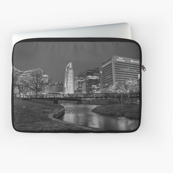 Omaha Skyline in Black and White Laptop Sleeve