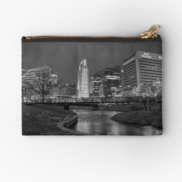 Omaha Skyline in Black and White Zipper Pouch