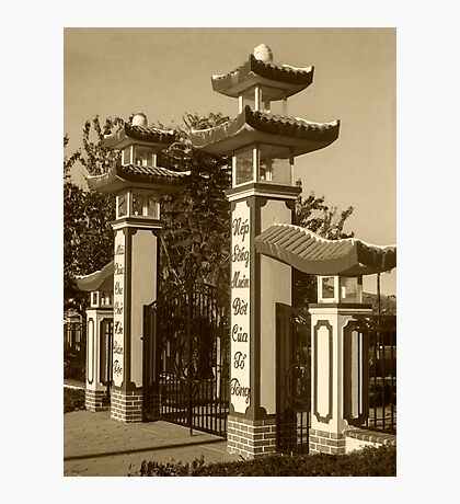 Buddhist Temple Entrance in Sepia  Photographic Print
