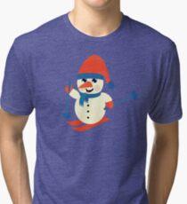Skiing Snowman  Tri-blend T-Shirt