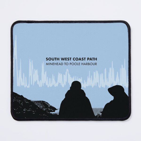 The South West Coast Path Elevation Art - Blue Mouse Pad