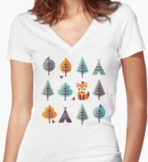 Fox in the Forest - on Gray Women's Fitted V-Neck T-Shirt