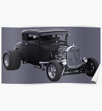 Hot Rod Ford Duotone Poster