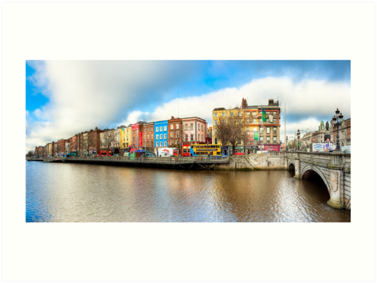 Dublin Ireland Panorama - Historic Quays Of The River Liffey by Mark Tisdale