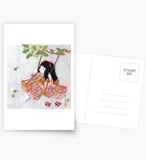 Beautiful Japanese doll on a swing Postcards