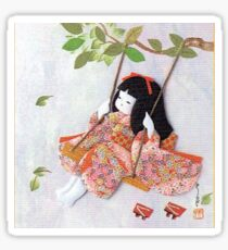 Beautiful Japanese doll on a swing Sticker