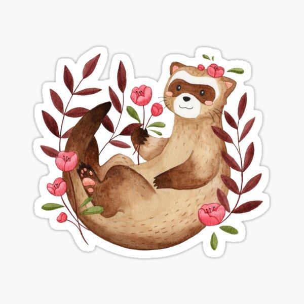 floral ferret bud Sticker