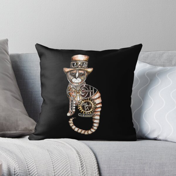 Steampunk kitty Throw Pillow