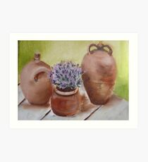 Trio of French Terraccotta Pots with Lavender Art Print