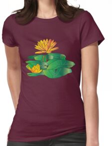 Golden Water Lilly with leaves. Tee, T shirts, Apparel and Stickers Womens Fitted T-Shirt
