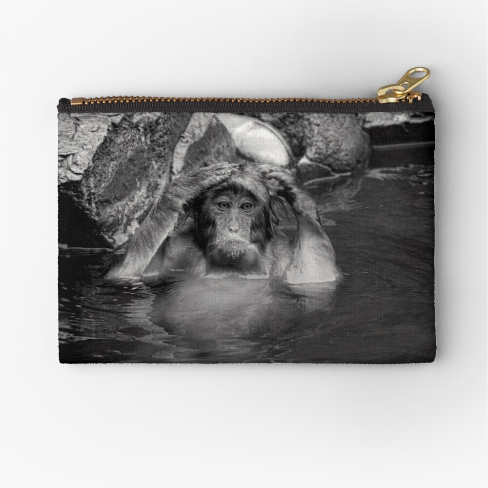 Rinse and Repeat. Snow Monkeys Zipper Pouch