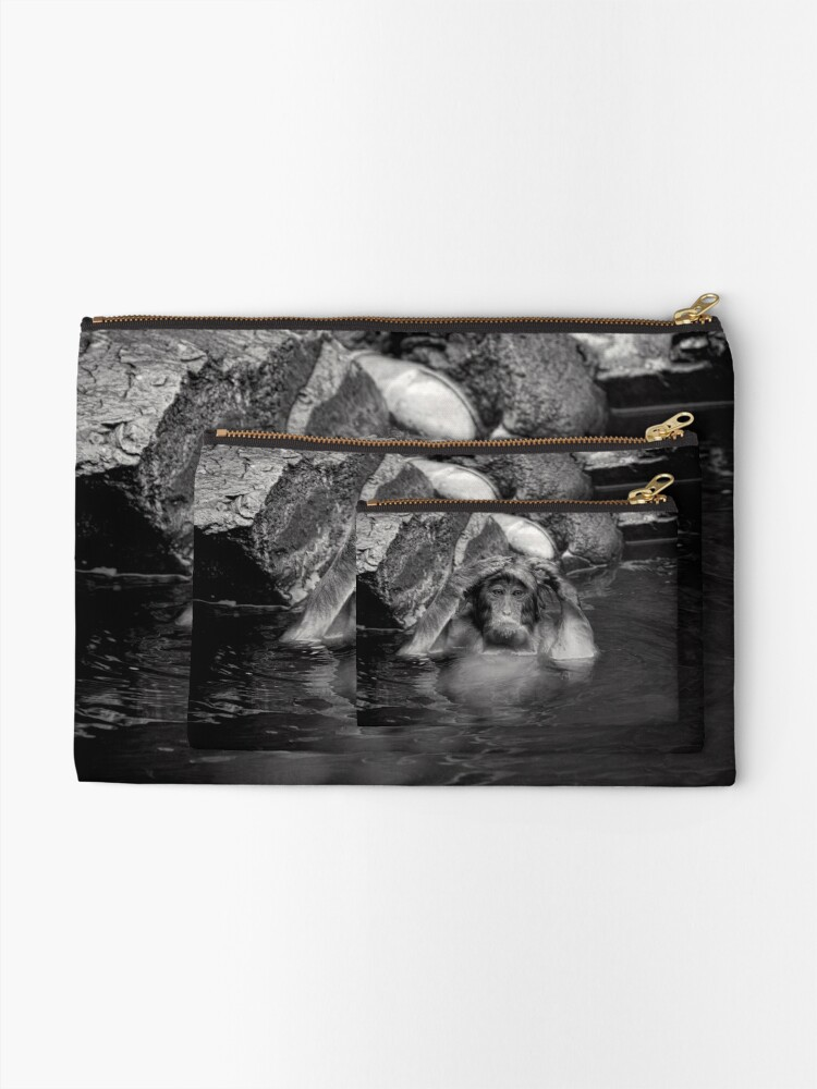 Alternate view of Rinse and Repeat. Snow Monkeys Zipper Pouch