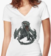 Chibi Dragon Women's Fitted V-Neck T-Shirt