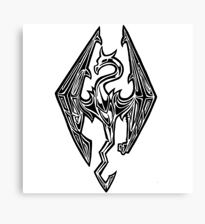 Skyrim Logo Dovah Dragon Canvas Print