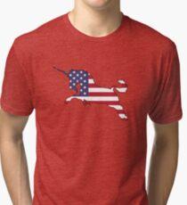American Flag – Unicorn Tri-blend T-Shirt