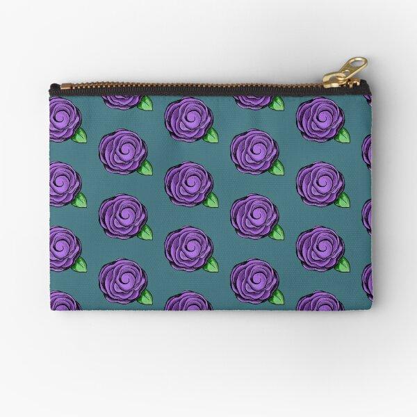 Purple Rose Zipper Pouch
