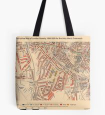 Booth's Map of London Poverty for Brockley Ward, Greenwich Tote Bag