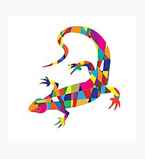 Bright colorful picture with the mosaic lizard isolated  Photographic Print