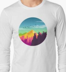 Colorful Nature Landscape : Mountain and Forest Scene with Happy Birds T-Shirt