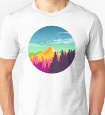 Colorful Nature Landscape : Mountain and Forest Scene with Happy Birds Slim Fit T-Shirt