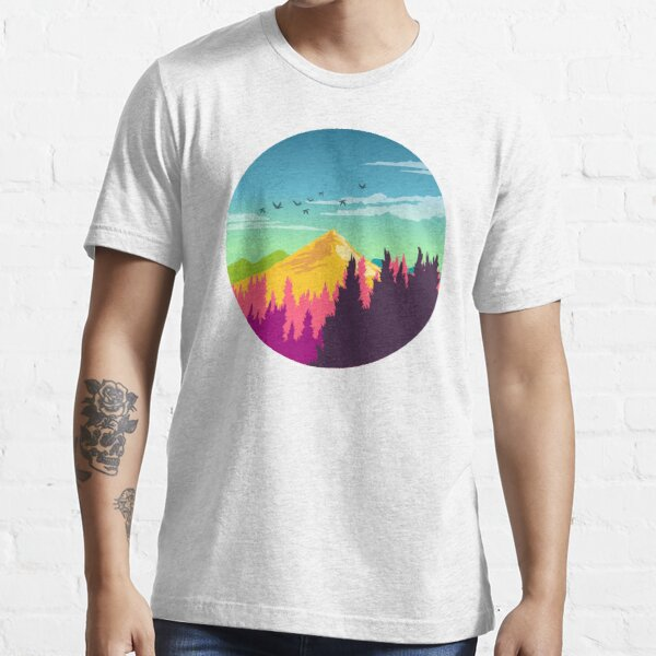 Colorful Nature Landscape : Mountain and Forest Scene with Happy Birds Essential T-Shirt