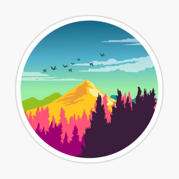 Bunte Naturlandschaft: Berg- und Waldszene mit glücklichen Vögeln Sticker