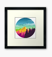 Colorful Nature Landscape : Mountain and Forest Scene with Happy Birds Framed Print