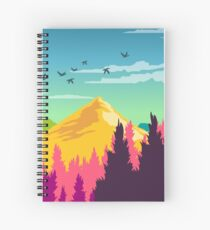 Colorful Nature Landscape : Mountain and Forest Scene with Happy Birds Spiral Notebook
