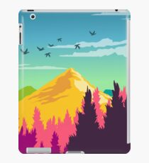 Colorful Nature Landscape : Mountain and Forest Scene with Happy Birds iPad Case/Skin
