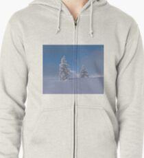 Winter Einsamkeit Hoodie mit Reißverschluss