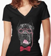 Hipster dog Cane Corso Women's Fitted V-Neck T-Shirt