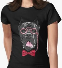 Hipster dog Cane Corso Womens Fitted T-Shirt