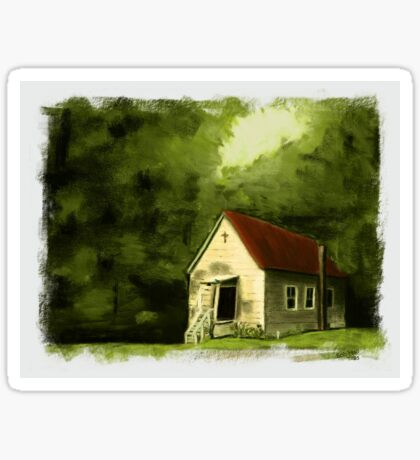 COUNTRY CHURCH, Pastel Painting, with Custom Edging, for prints and products Sticker