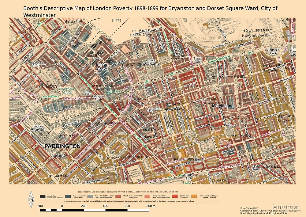 Booth's Map of London Poverty for Bryanston & Dorset Sq ward, Westminster by ianturton