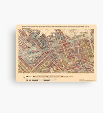 Booth's Map of London Poverty for Bryanston & Dorset Sq ward, Westminster Canvas Print
