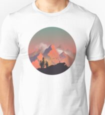 Cool Outdoors Nature Landscape Graphic : Forest and Hiking Mountain with Birds Unisex T-Shirt