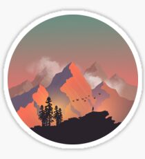 Cool Outdoors Nature Landscape Graphic : Forest and Hiking Mountain with Birds Sticker