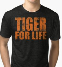 Tiger for Life -Navy and Orange Tri-blend T-Shirt
