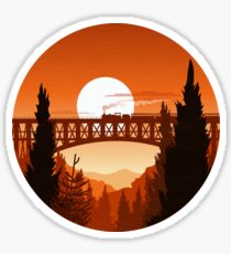 Retro Nature Graphic Illustration : Train Mountain with Oldschool Landscape Sticker