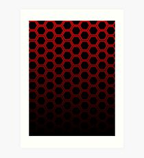 Red hexagon Art Print