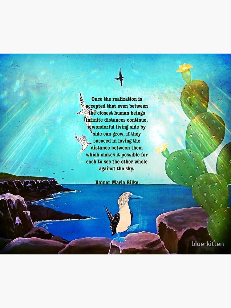 Hermoso amor realización cita inspiradora con la pintura de la naturaleza de blue-kitten