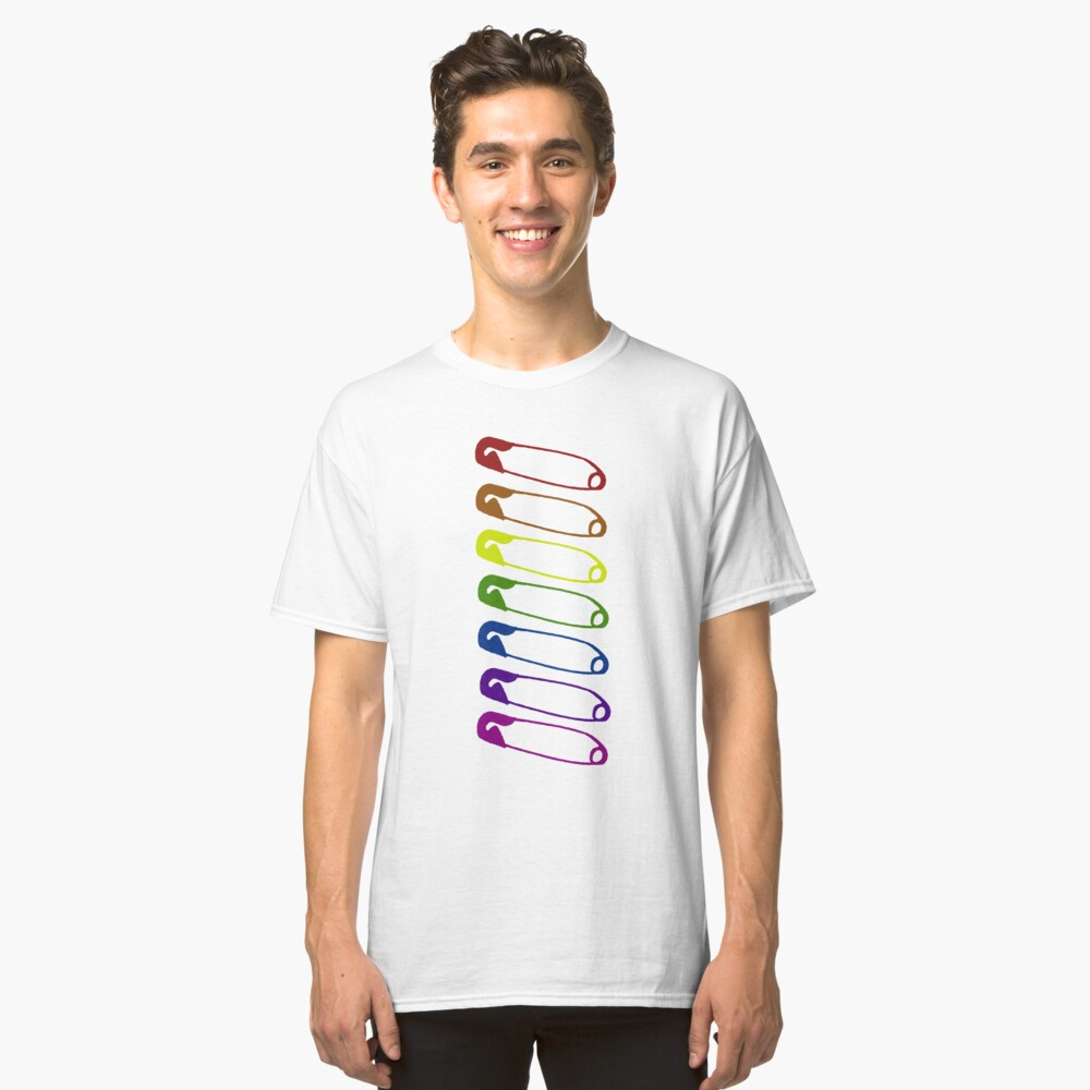 Safe with me rainbow safety pins Classic T-Shirt Front