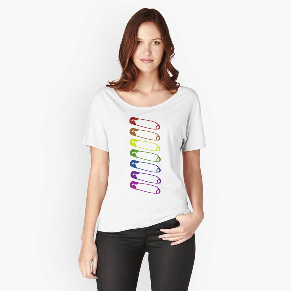 Safe with me rainbow safety pins Relaxed Fit T-Shirt