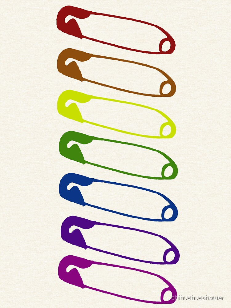 Safe with me rainbow safety pins by chihuahuashower