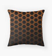 Orange hexagon Throw Pillow