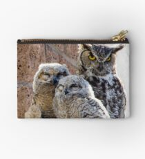 Horned Owl with Chicks Studio Pouch