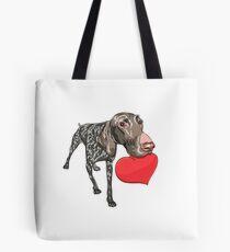 Kurzhaar with red heart Tote Bag